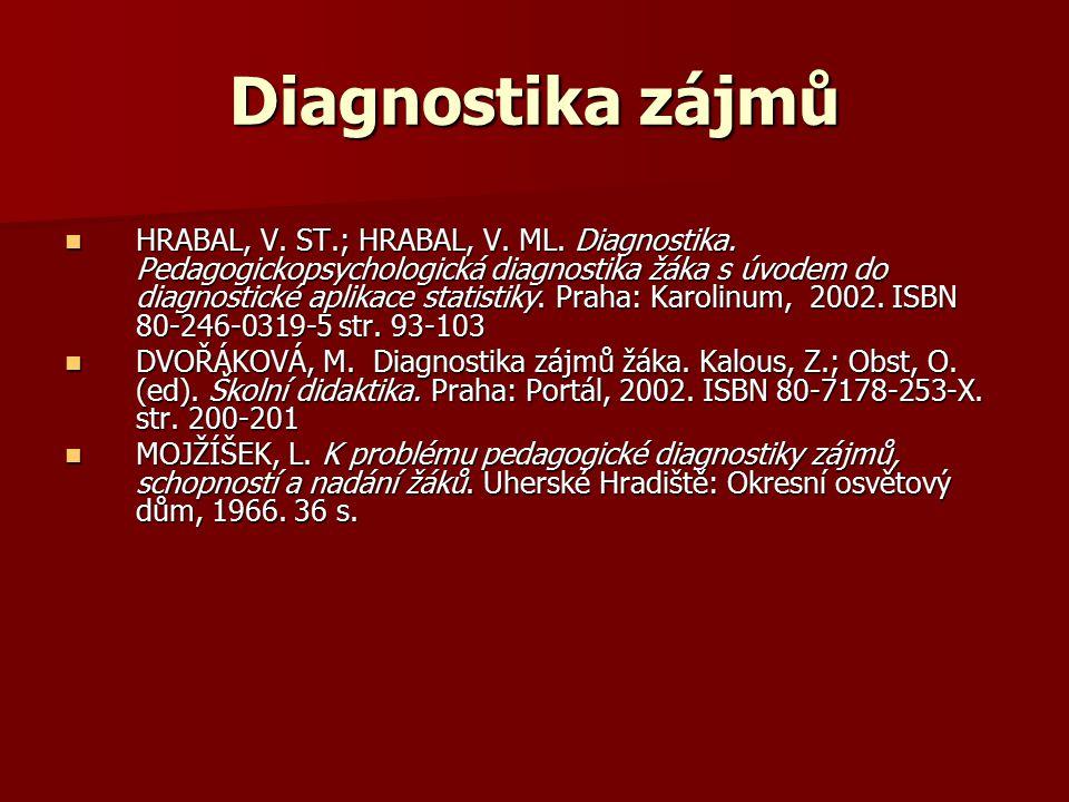 Diagnostika zájmů HRABAL, V. ST.; HRABAL, V. ML. Diagnostika. Pedagogickopsychologická diagnostika žáka s úvodem do diagnostické aplikace statistiky.