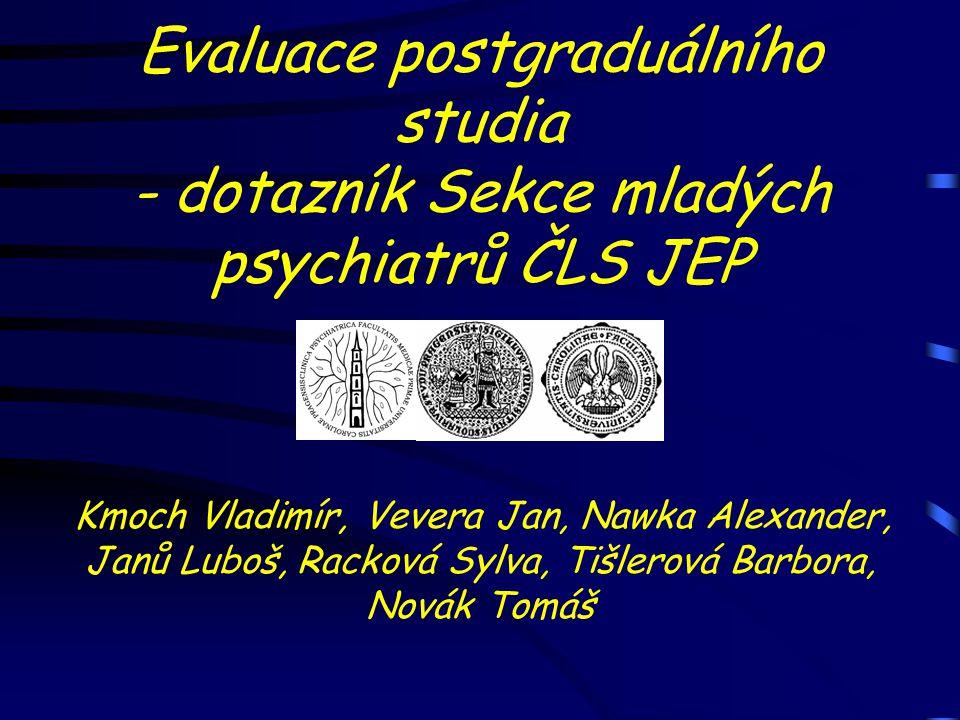 Evaluace postgraduálního studia - dotazník Sekce mladých psychiatrů ČLS JEP Kmoch Vladimír, Vevera Jan, Nawka Alexander, Janů Luboš, Racková Sylva, Ti