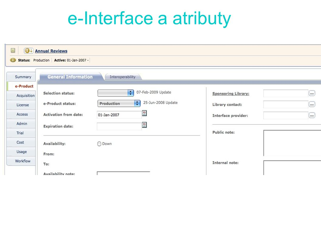 e-Interface a atributy