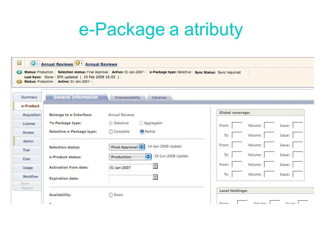 e-Package a atributy
