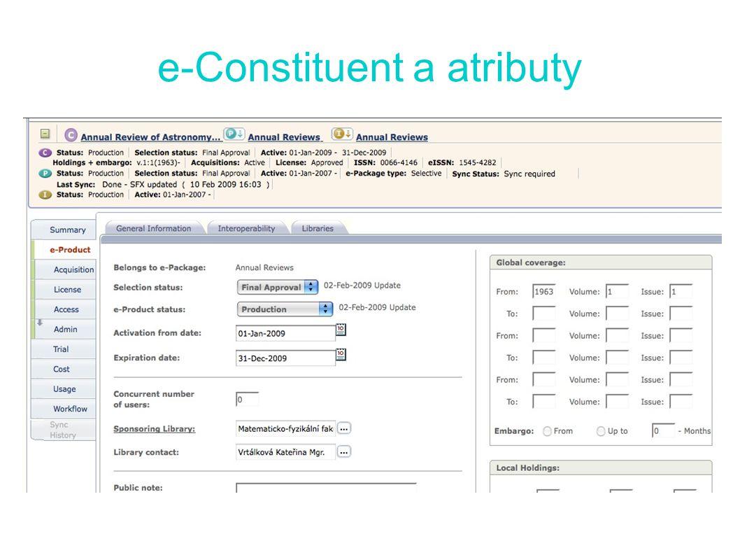 e-Constituent a atributy