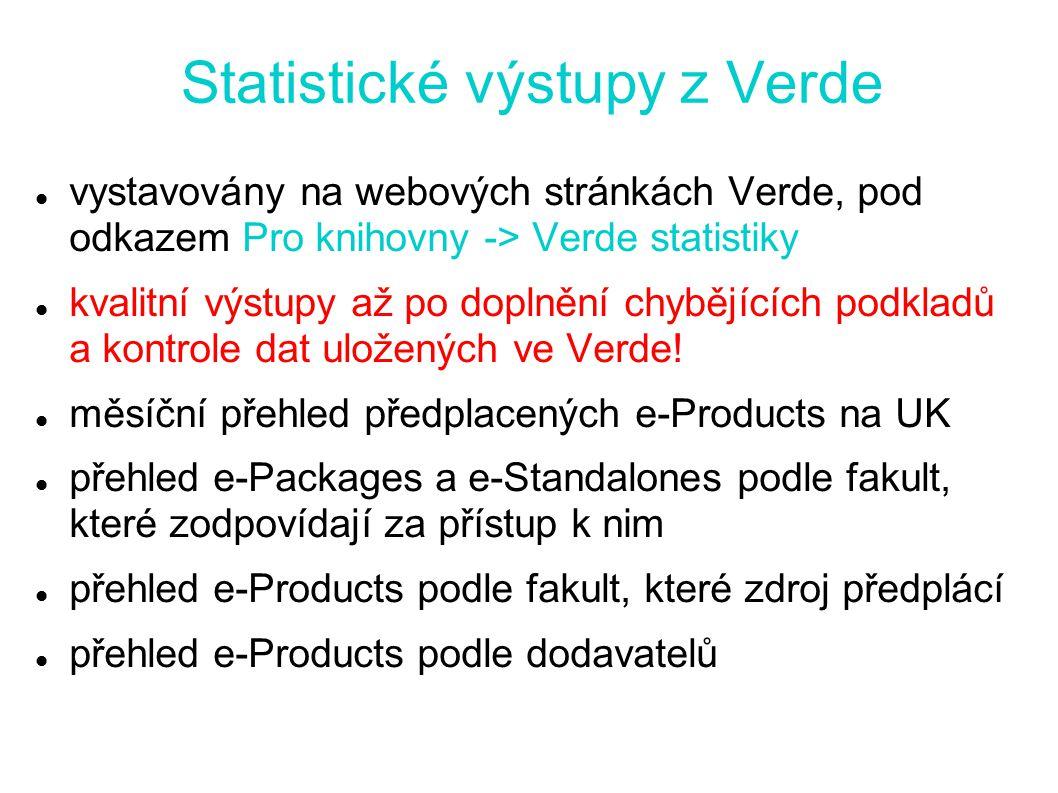 Statistické výstupy z Verde vystavovány na webových stránkách Verde, pod odkazem Pro knihovny -> Verde statistiky kvalitní výstupy až po doplnění chybějících podkladů a kontrole dat uložených ve Verde.