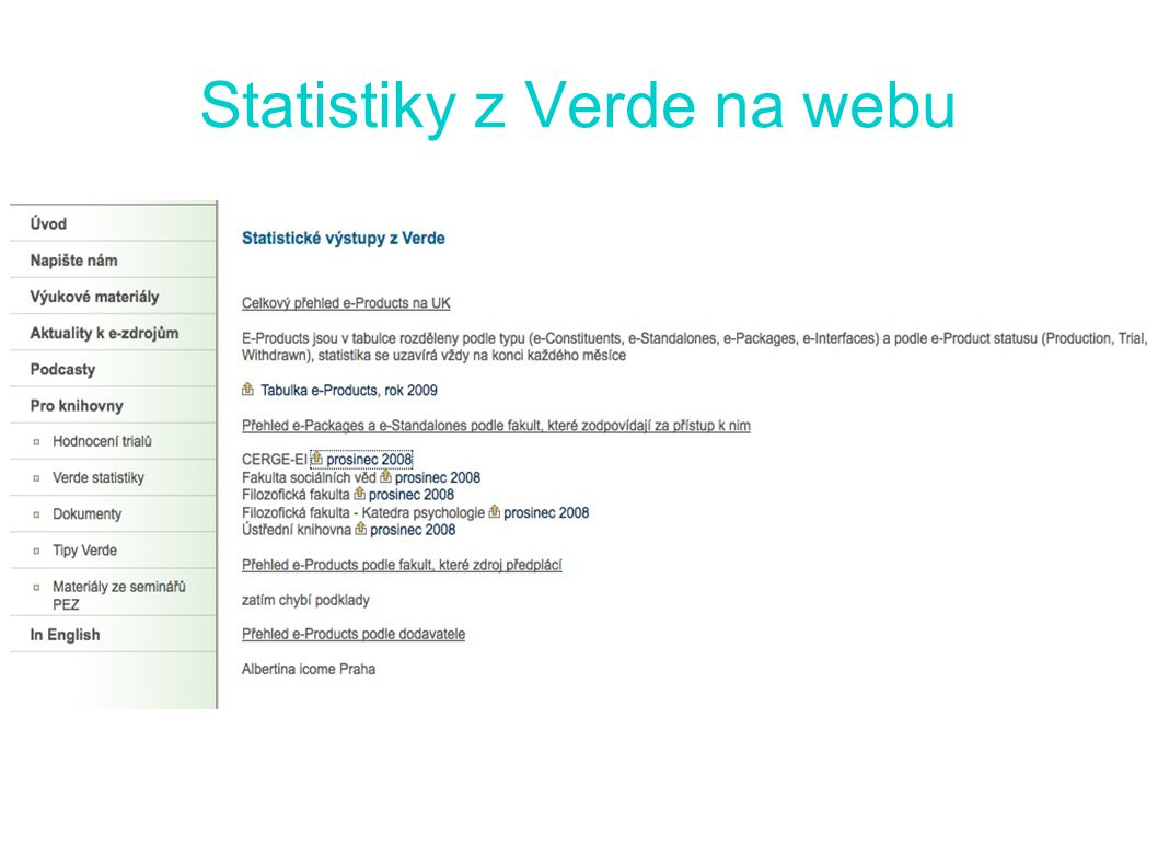 Statistiky z Verde na webu