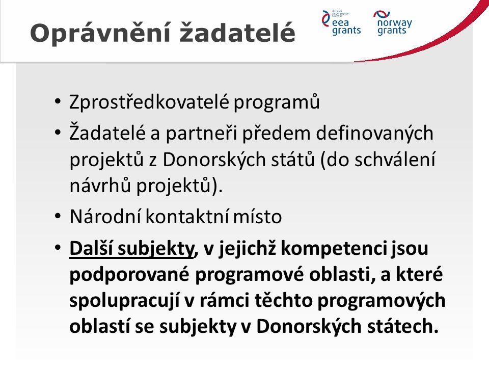Oprávnění žadatelé Zprostředkovatelé programů Žadatelé a partneři předem definovaných projektů z Donorských států (do schválení návrhů projektů).