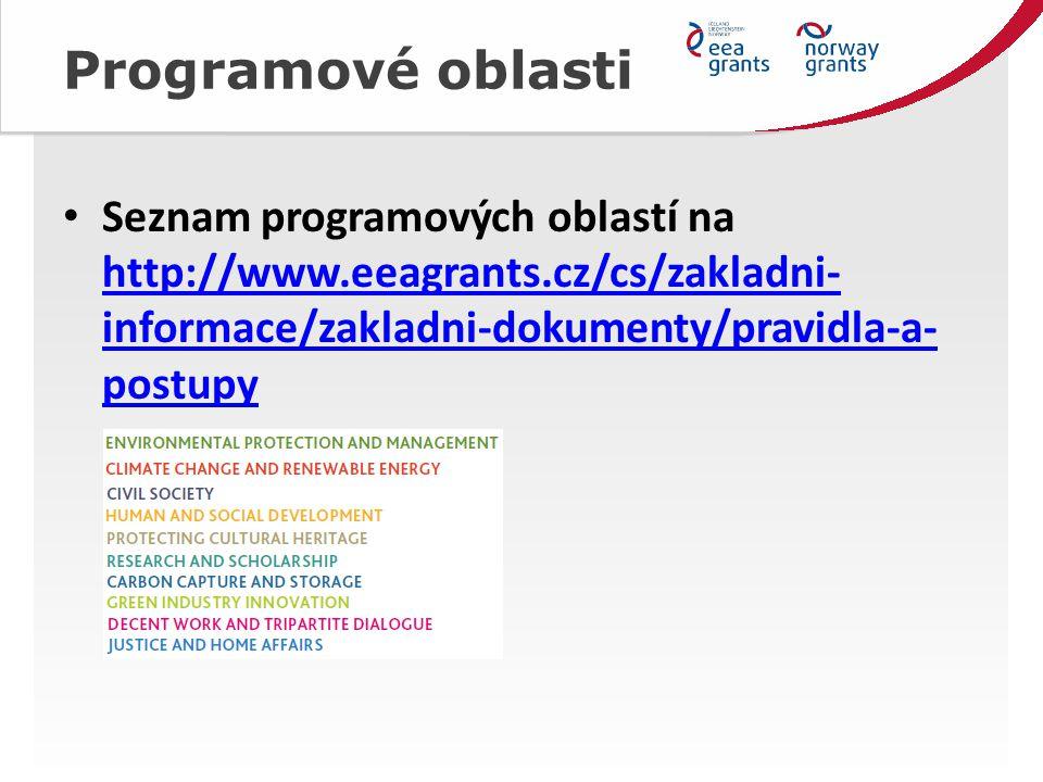 Programové oblasti Seznam programových oblastí na http://www.eeagrants.cz/cs/zakladni- informace/zakladni-dokumenty/pravidla-a- postupy http://www.eeagrants.cz/cs/zakladni- informace/zakladni-dokumenty/pravidla-a- postupy