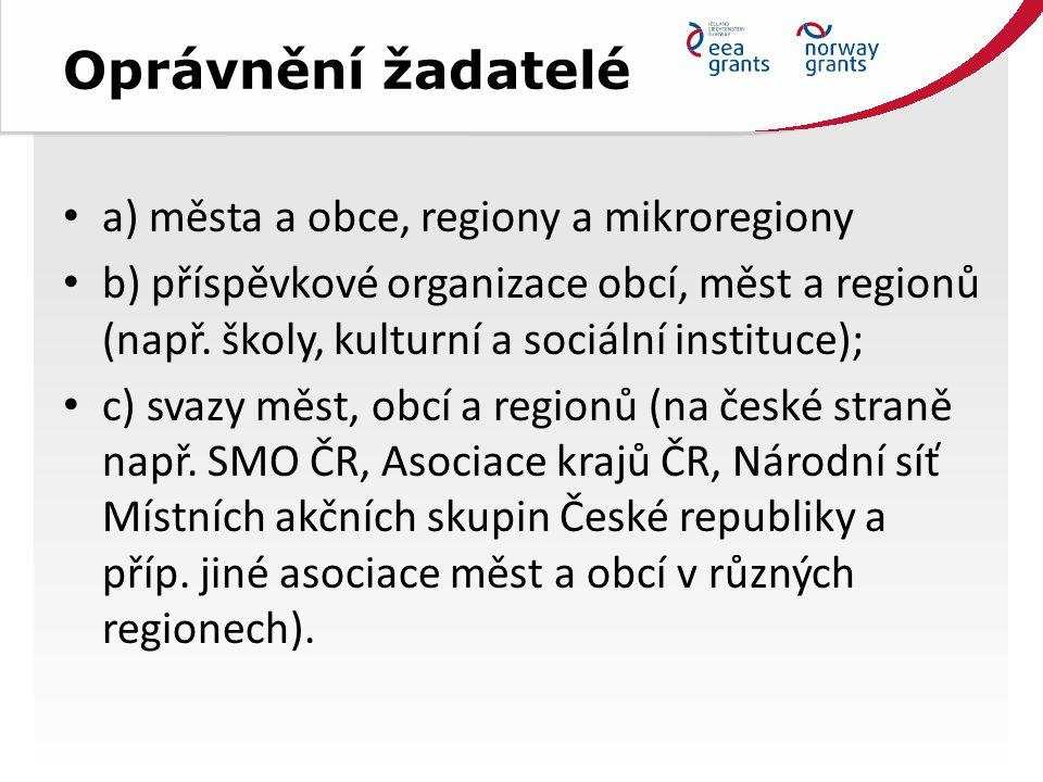 Oprávnění žadatelé a) města a obce, regiony a mikroregiony b) příspěvkové organizace obcí, měst a regionů (např.