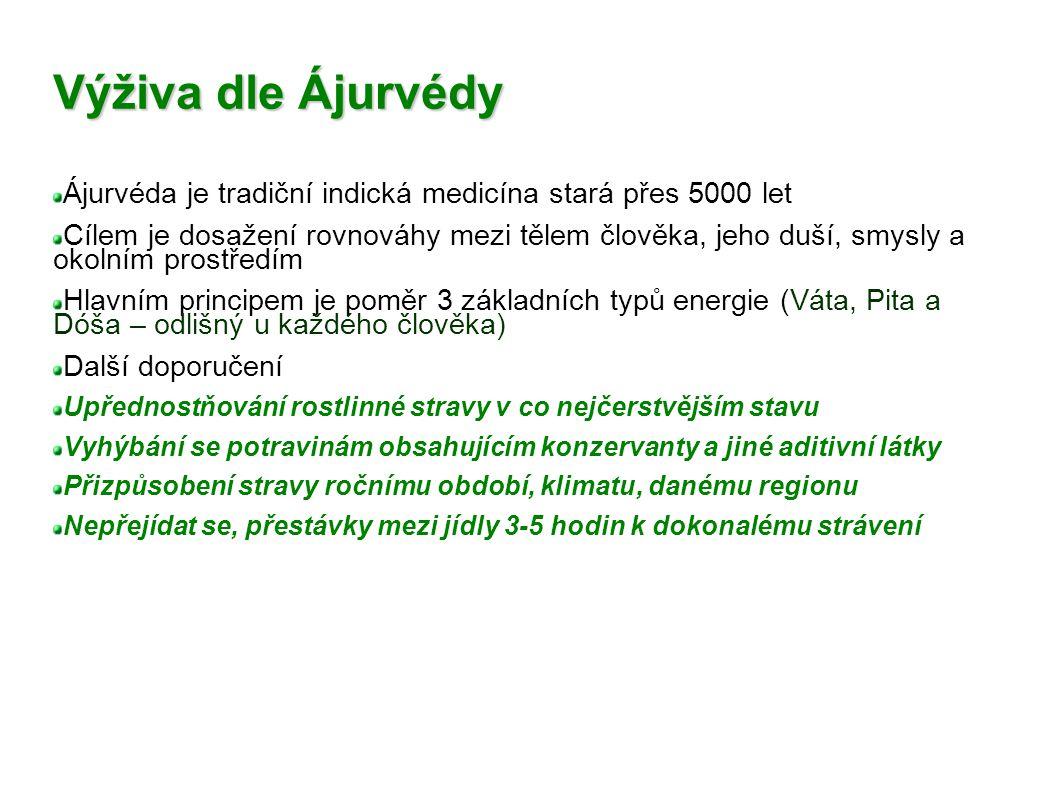Výživa dle Ájurvédy Ájurvéda je tradiční indická medicína stará přes 5000 let Cílem je dosažení rovnováhy mezi tělem člověka, jeho duší, smysly a okol