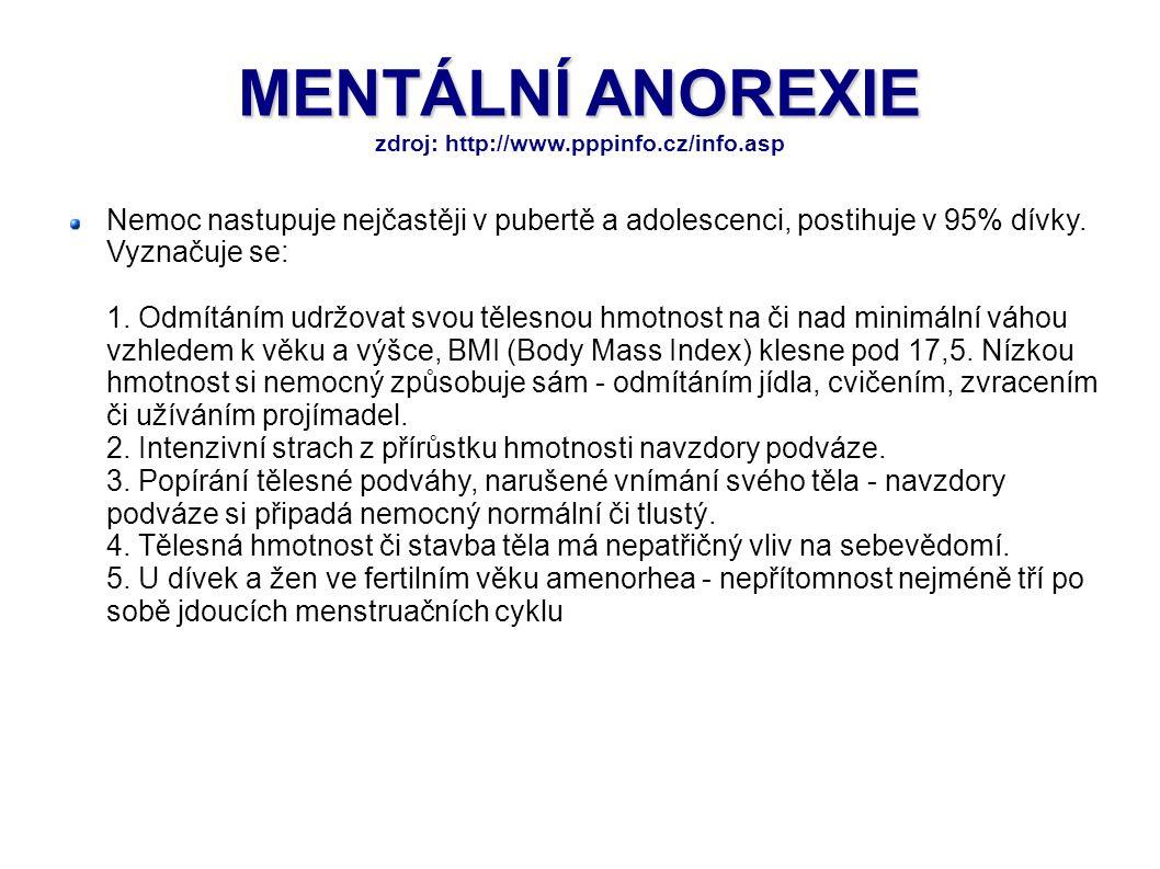 MENTÁLNÍ ANOREXIE MENTÁLNÍ ANOREXIE zdroj: http://www.pppinfo.cz/info.asp Nemoc nastupuje nejčastěji v pubertě a adolescenci, postihuje v 95% dívky. V