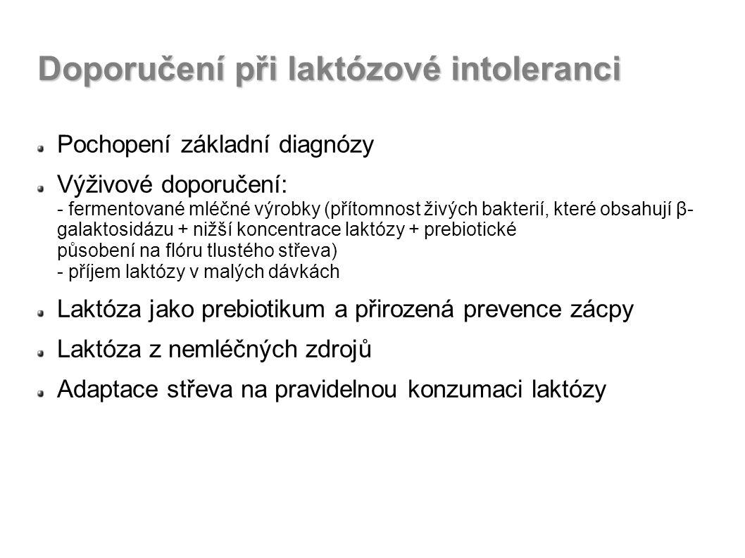 Doporučení při laktózové intoleranci Pochopení základní diagnózy Výživové doporučení: - fermentované mléčné výrobky (přítomnost živých bakterií, které