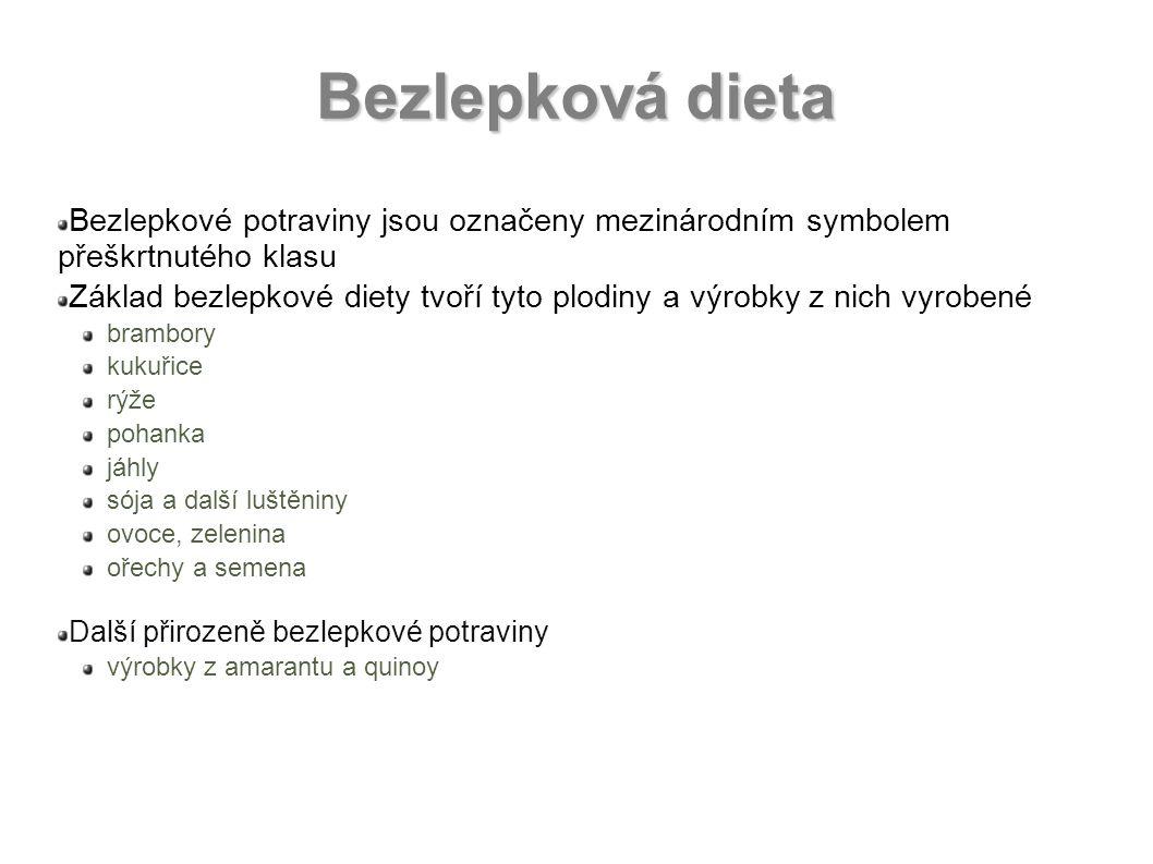 Bezlepková dieta Bezlepkové potraviny jsou označeny mezinárodním symbolem přeškrtnutého klasu Základ bezlepkové diety tvoří tyto plodiny a výrobky z n