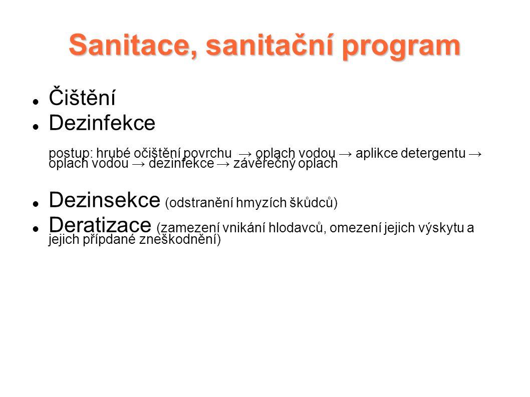 Sanitace, sanitační program Čištění Dezinfekce postup: hrubé očištění povrchu → oplach vodou → aplikce detergentu → oplach vodou → dezinfekce → závěre