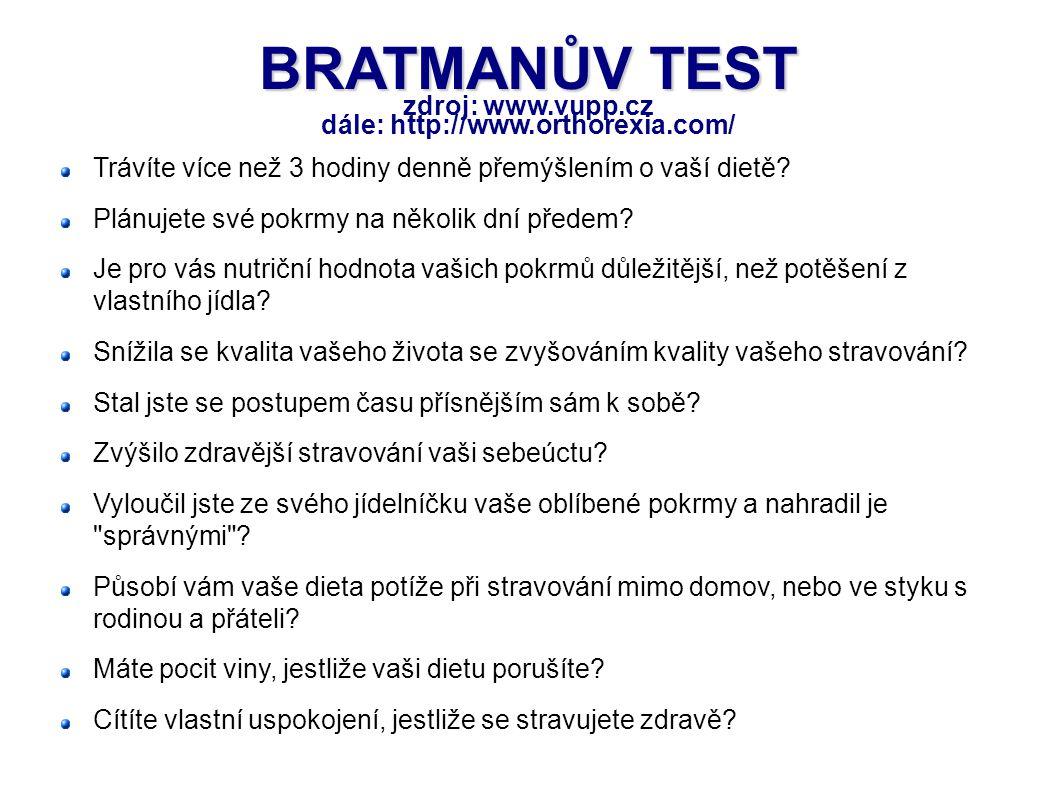 BRATMANŮV TEST BRATMANŮV TEST zdroj: www.vupp.cz dále: http://www.orthorexia.com/ Trávíte více než 3 hodiny denně přemýšlením o vaší dietě? Plánujete