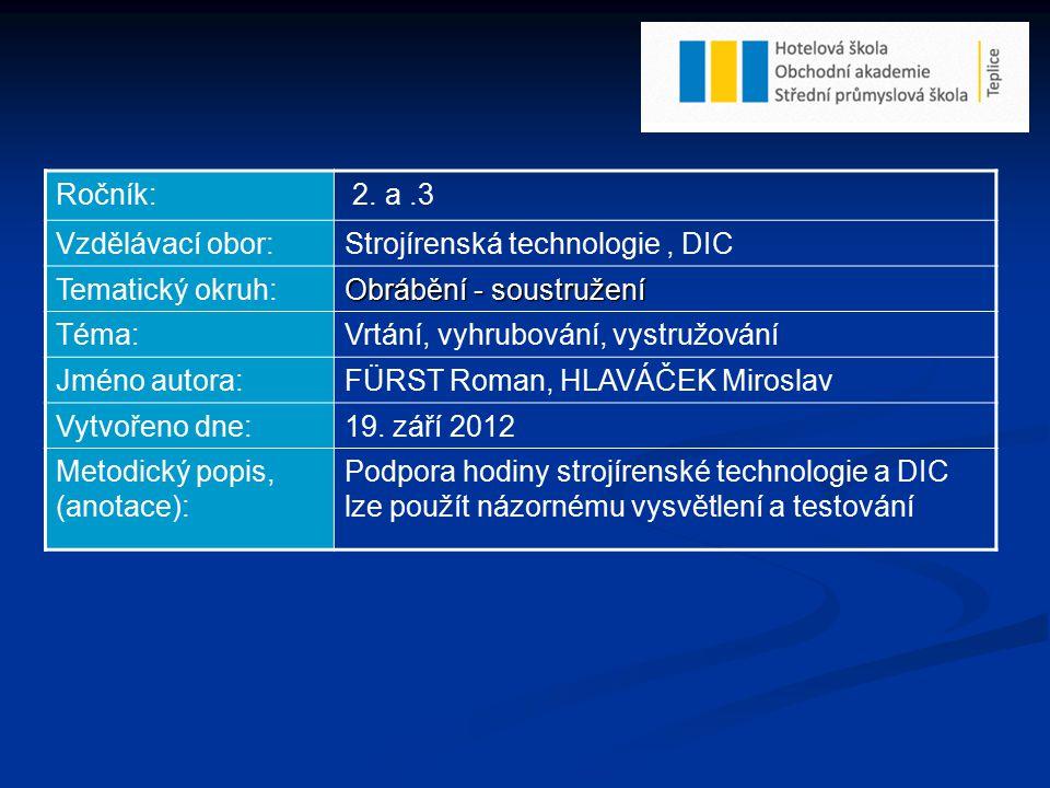 Ročník: 2. a.3 Vzdělávací obor:Strojírenská technologie, DIC Tematický okruh: Obrábění - soustružení Téma:Vrtání, vyhrubování, vystružování Jméno auto