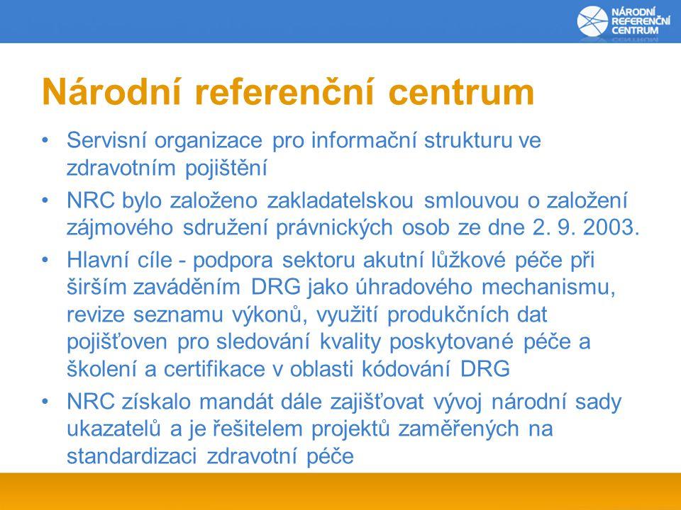 Národní referenční centrum Servisní organizace pro informační strukturu ve zdravotním pojištění NRC bylo založeno zakladatelskou smlouvou o založení zájmového sdružení právnických osob ze dne 2.