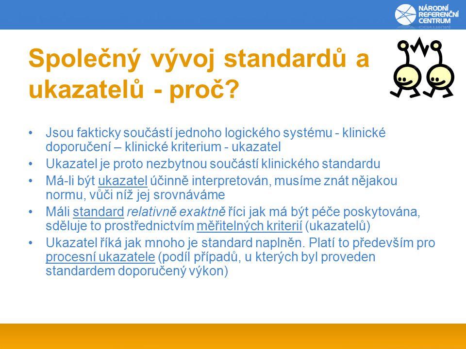 Společný vývoj standardů a ukazatelů - proč.