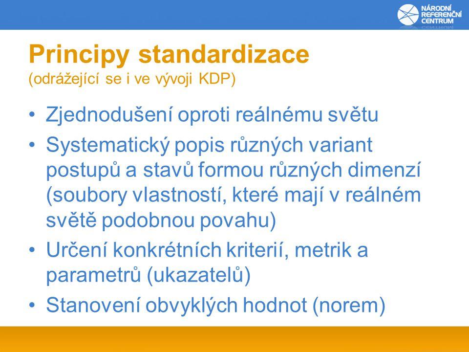 Principy standardizace (odrážející se i ve vývoji KDP) Zjednodušení oproti reálnému světu Systematický popis různých variant postupů a stavů formou různých dimenzí (soubory vlastností, které mají v reálném světě podobnou povahu) Určení konkrétních kriterií, metrik a parametrů (ukazatelů) Stanovení obvyklých hodnot (norem)