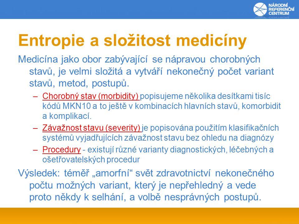 Entropie a složitost medicíny Medicína jako obor zabývající se nápravou chorobných stavů, je velmi složitá a vytváří nekonečný počet variant stavů, metod, postupů.