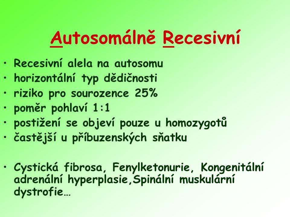 Autosomálně Recesivní Recesivní alela na autosomu horizontální typ dědičnosti riziko pro sourozence 25% poměr pohlaví 1:1 postižení se objeví pouze u homozygotů častější u příbuzenských sňatku Cystická fibrosa, Fenylketonurie, Kongenitální adrenální hyperplasie,Spinální muskulární dystrofie…