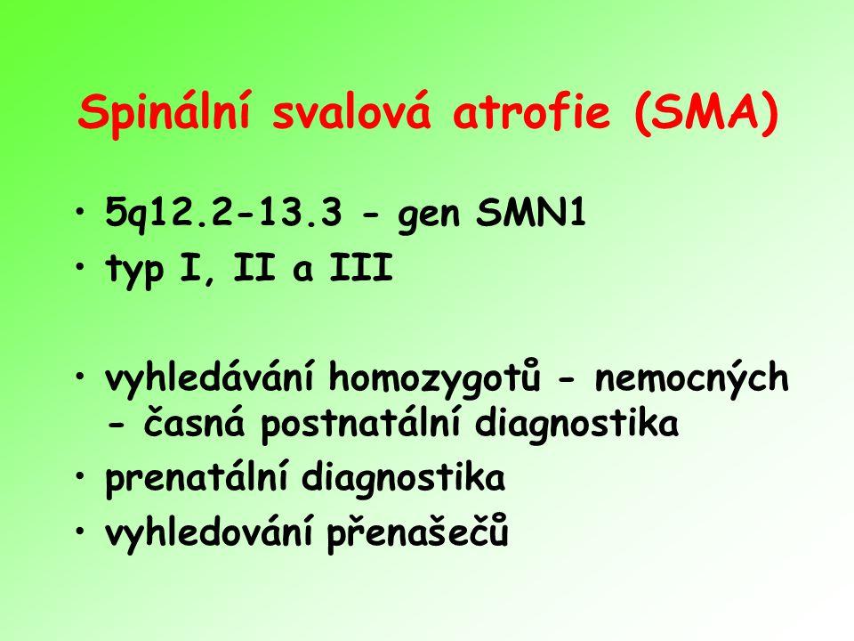 Spinální svalová atrofie (SMA) 5q12.2-13.3 - gen SMN1 typ I, II a III vyhledávání homozygotů - nemocných - časná postnatální diagnostika prenatální diagnostika vyhledování přenašečů