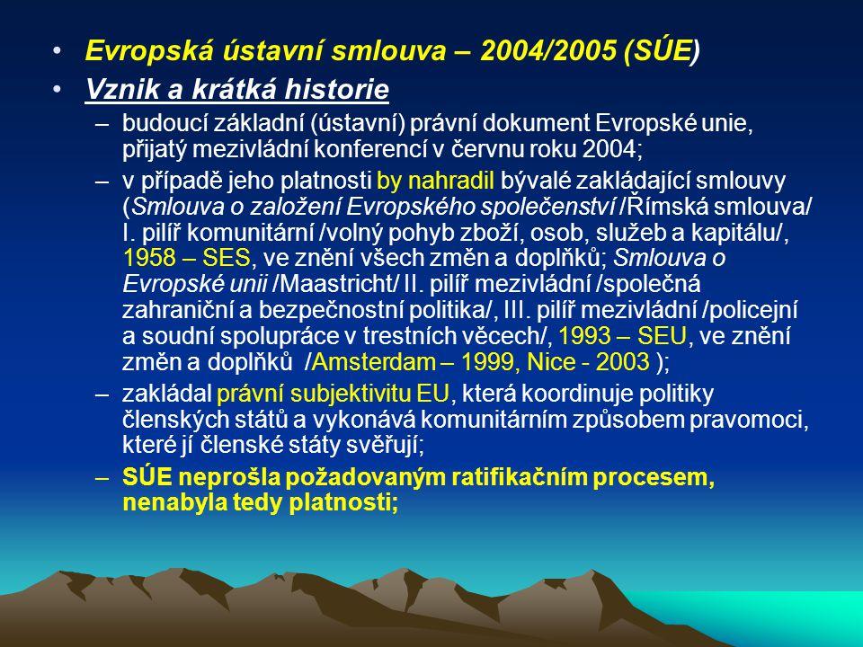 Evropská ústavní smlouva – 2004/2005 (SÚE) Vznik a krátká historie –budoucí základní (ústavní) právní dokument Evropské unie, přijatý mezivládní konfe