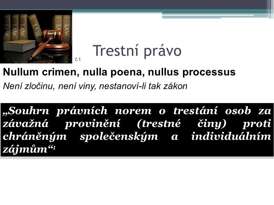 """Trestní právo Nullum crimen, nulla poena, nullus processus Není zločinu, není viny, nestanoví-li tak zákon č.1. """"Souhrn právních norem o trestání osob"""