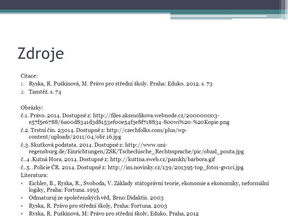 Zdroje Citace: 1.Ryska, R. Puškinová, M. Právo pro střední školy. Praha: Eduko. 2012. s. 73 2.Tamtéž. s. 74 Obrázky: č.1. Právo. 2014. Dostupné z: htt