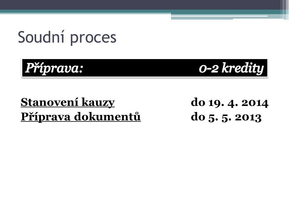 Soudní proces Stanovení kauzydo 19. 4. 2014 Příprava dokumentůdo 5. 5. 2013