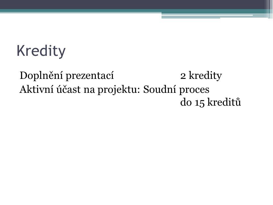 Kredity Doplnění prezentací2 kredity Aktivní účast na projektu: Soudní proces do 15 kreditů