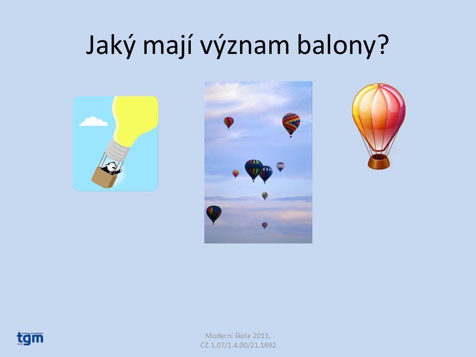 Jaký mají význam balony? Moderní škola 2011, CZ.1.07/1.4.00/21.1692