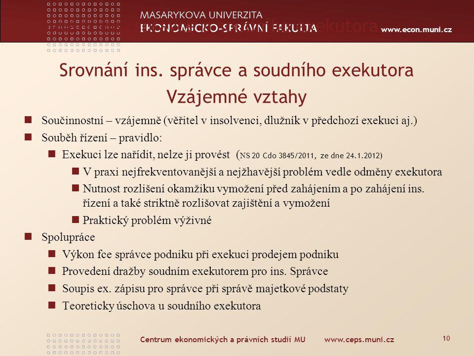 www.econ.muni.cz Srovnání ins. správce a soudního exekutora Součinnostní – vzájemně (věřitel v insolvenci, dlužník v předchozí exekuci aj.) Souběh říz