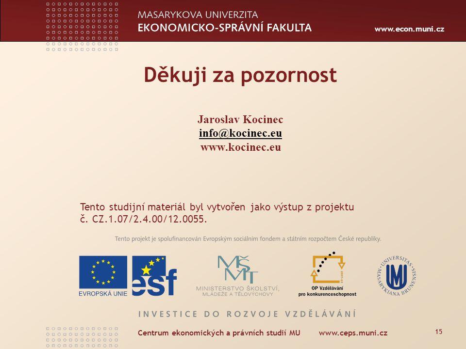 www.econ.muni.cz Centrum ekonomických a právních studií MU www.ceps.muni.cz 15 Děkuji za pozornost Jaroslav Kocinec info@kocinec.eu www.kocinec.eu info@kocinec.eu Tento studijní materiál byl vytvořen jako výstup z projektu č.