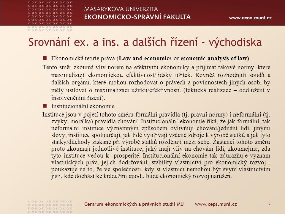 www.econ.muni.cz Centrum ekonomických a právních studií MU www.ceps.muni.cz 3 Srovnání ex. a ins. a dalších řízení - východiska Ekonomická teorie práv