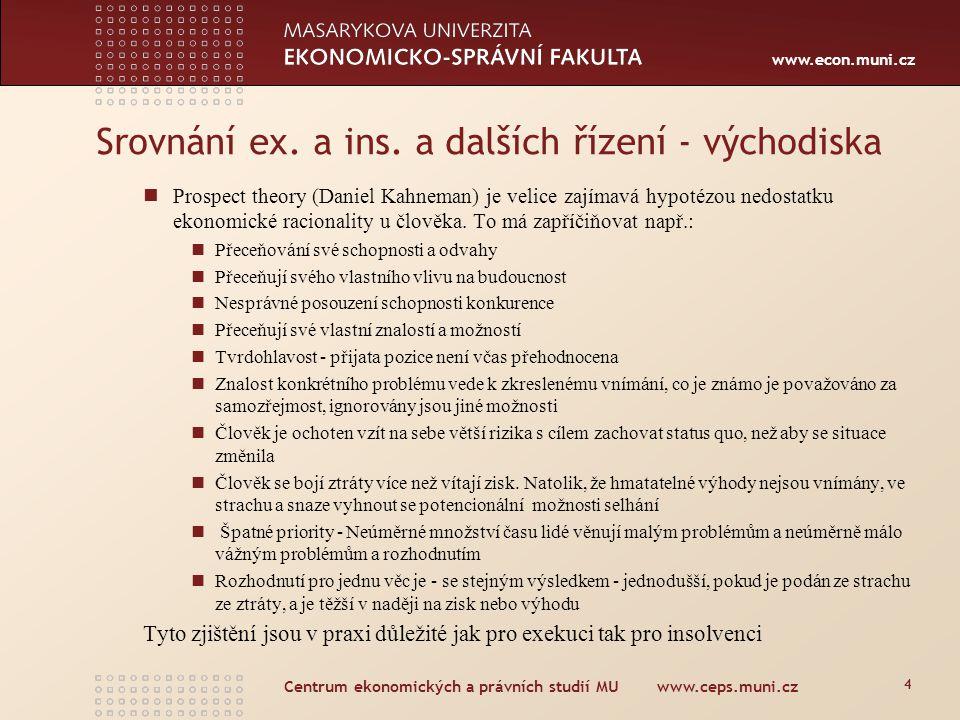 www.econ.muni.cz Centrum ekonomických a právních studií MU www.ceps.muni.cz 4 Srovnání ex. a ins. a dalších řízení - východiska Prospect theory (Danie