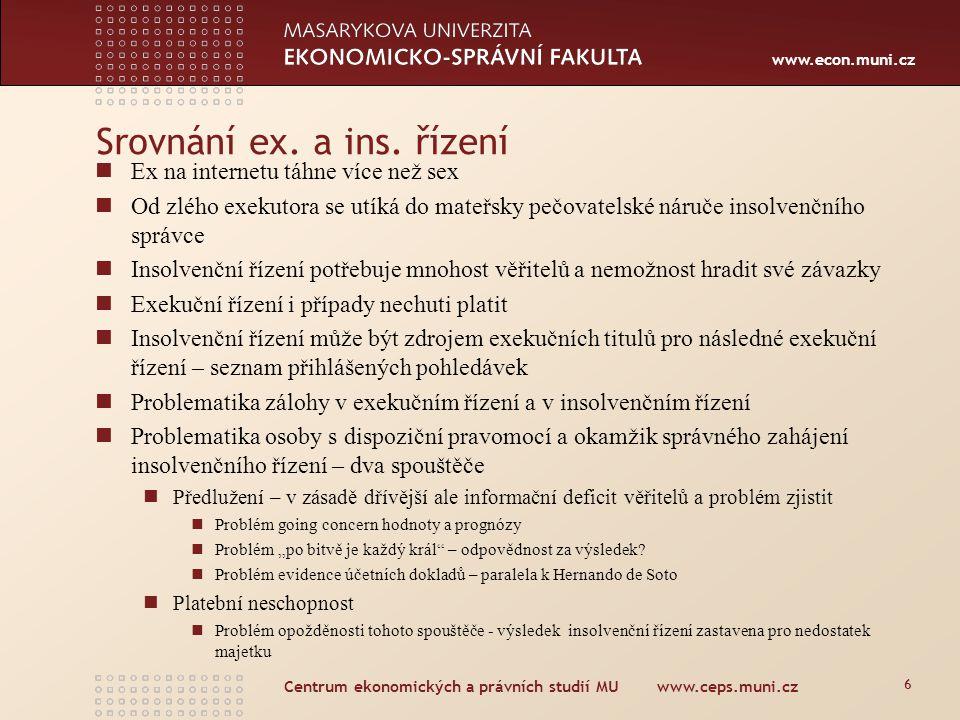 www.econ.muni.cz Centrum ekonomických a právních studií MU www.ceps.muni.cz 6 Srovnání ex. a ins. řízení Ex na internetu táhne více než sex Od zlého e