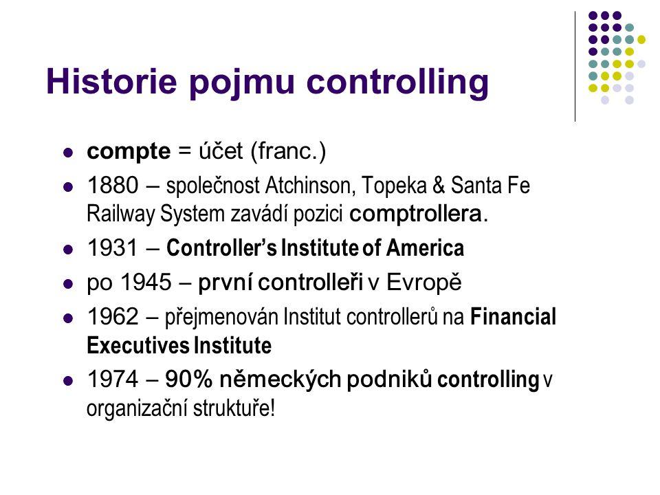Historie pojmu controlling compte = účet (franc.) 1880 – společnost Atchinson, Topeka & Santa Fe Railway System zavádí pozici comptrollera. 1931 – Con