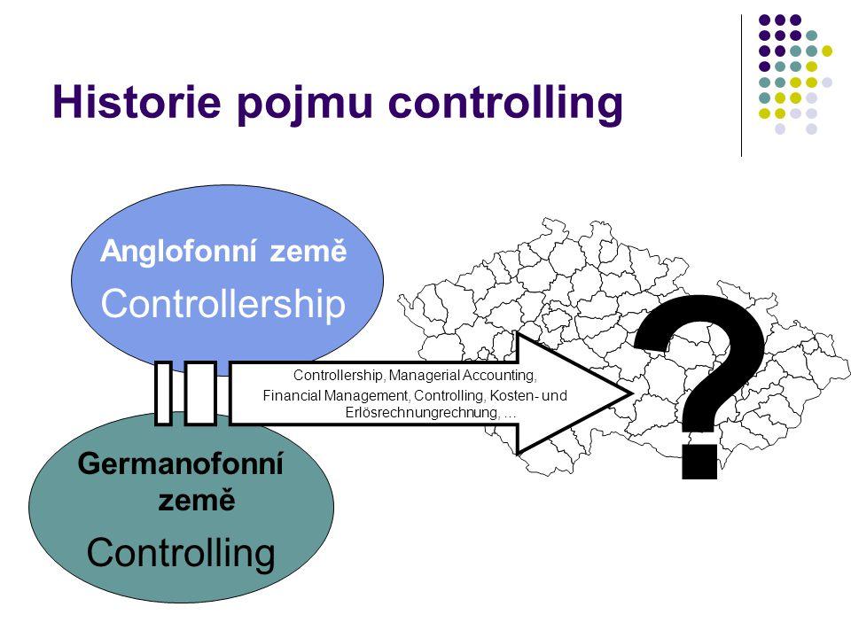 Historie pojmu controlling Konkurenceschopnost p 1 p 2 p 3.... Anglofonní země Controllership Germanofonní země Controlling Controllership, Managerial