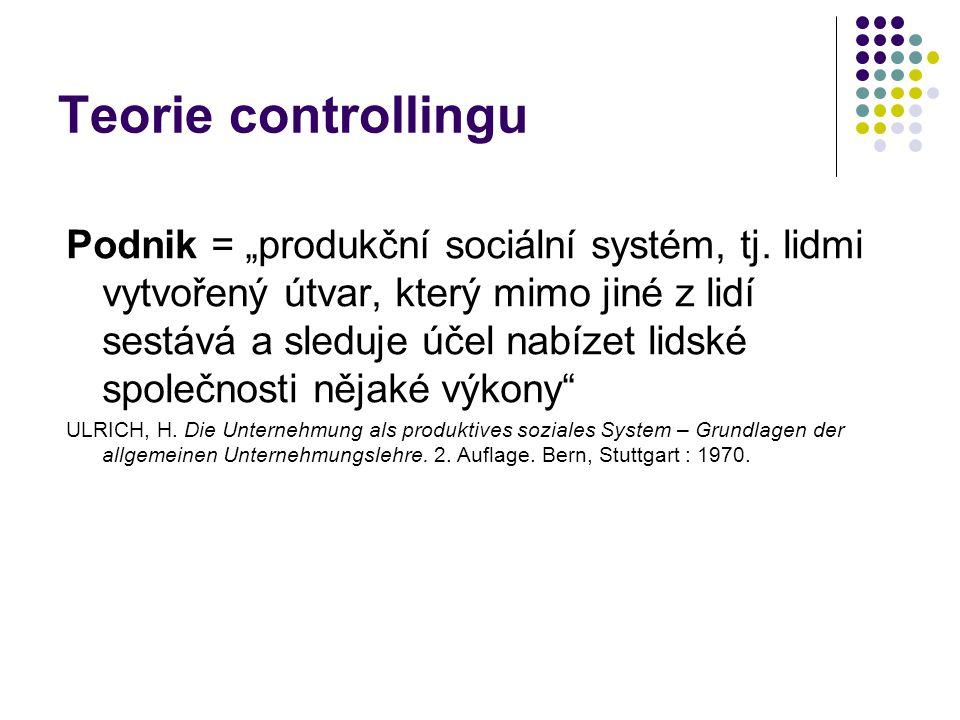 """Teorie controllingu Podnik = """"produkční sociální systém, tj. lidmi vytvořený útvar, který mimo jiné z lidí sestává a sleduje účel nabízet lidské spole"""