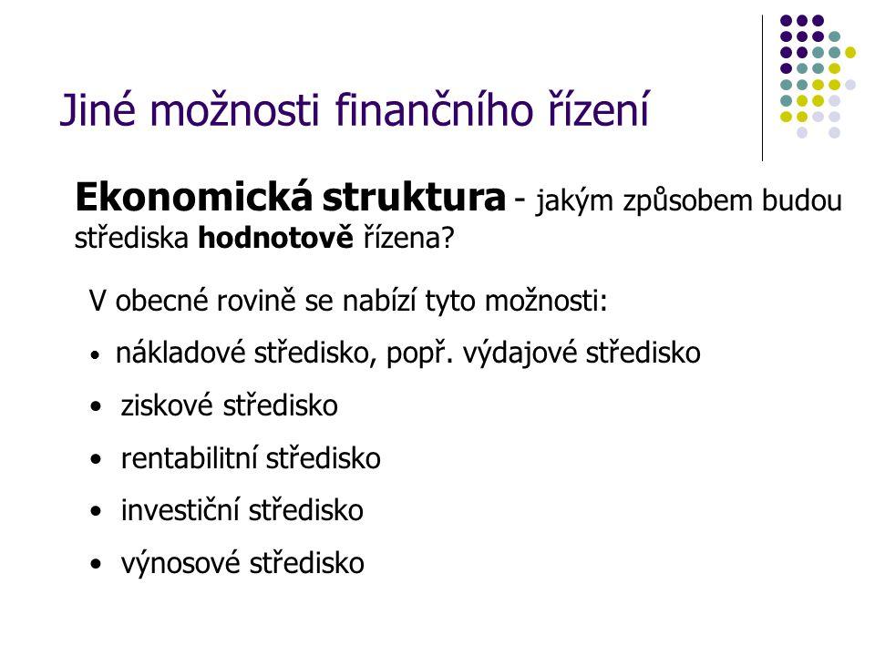 Ekonomická struktura - jakým způsobem budou střediska hodnotově řízena? V obecné rovině se nabízí tyto možnosti: nákladové středisko, popř. výdajové s