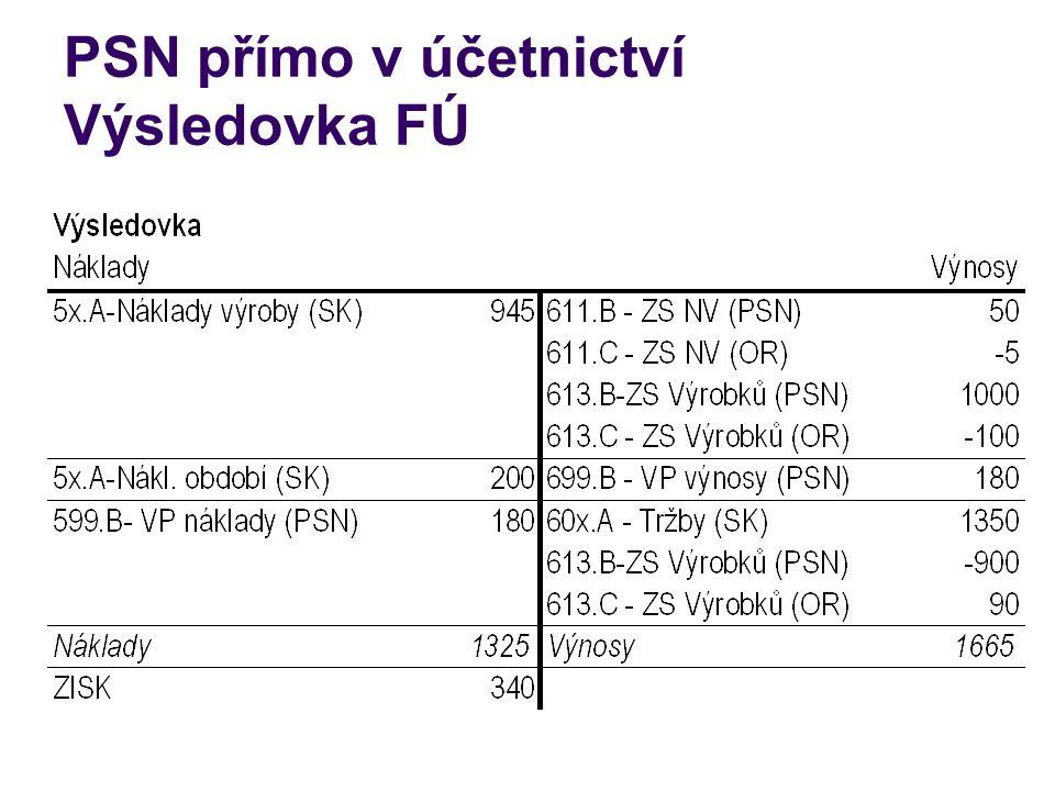 PSN přímo v účetnictví Výsledovka FÚ