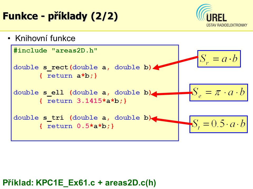 #include areas2D.h double s_rect(double a, double b) { return a*b;} double s_ell (double a, double b) { return 3.1415*a*b;} double s_tri (double a, double b) { return 0.5*a*b;} Knihovní funkce areas2D.cpp Příklad: KPC1E_Ex61.c + areas2D.c(h) Funkce - příklady (2/2)