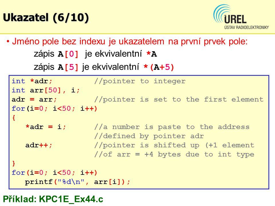 Ukazatele - příklady (2/7) Př.Vyhledání a náhrada textu bez std.