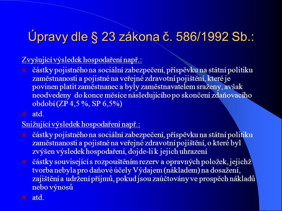 Úpravy dle § 23 zákona č.