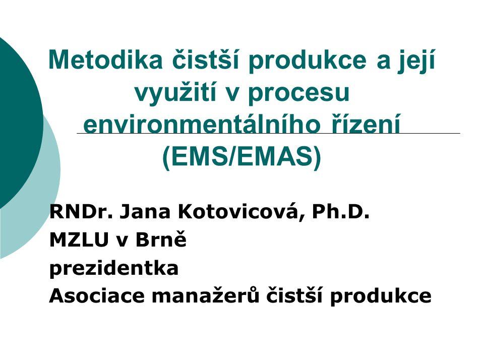 Metodika čistší produkce a její využití v procesu environmentálního řízení (EMS/EMAS) RNDr. Jana Kotovicová, Ph.D. MZLU v Brně prezidentka Asociace ma