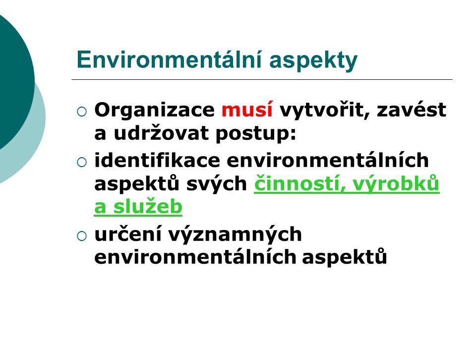 Environmentální aspekty  Organizace musí vytvořit, zavést a udržovat postup:  identifikace environmentálních aspektů svých činností, výrobků a služe