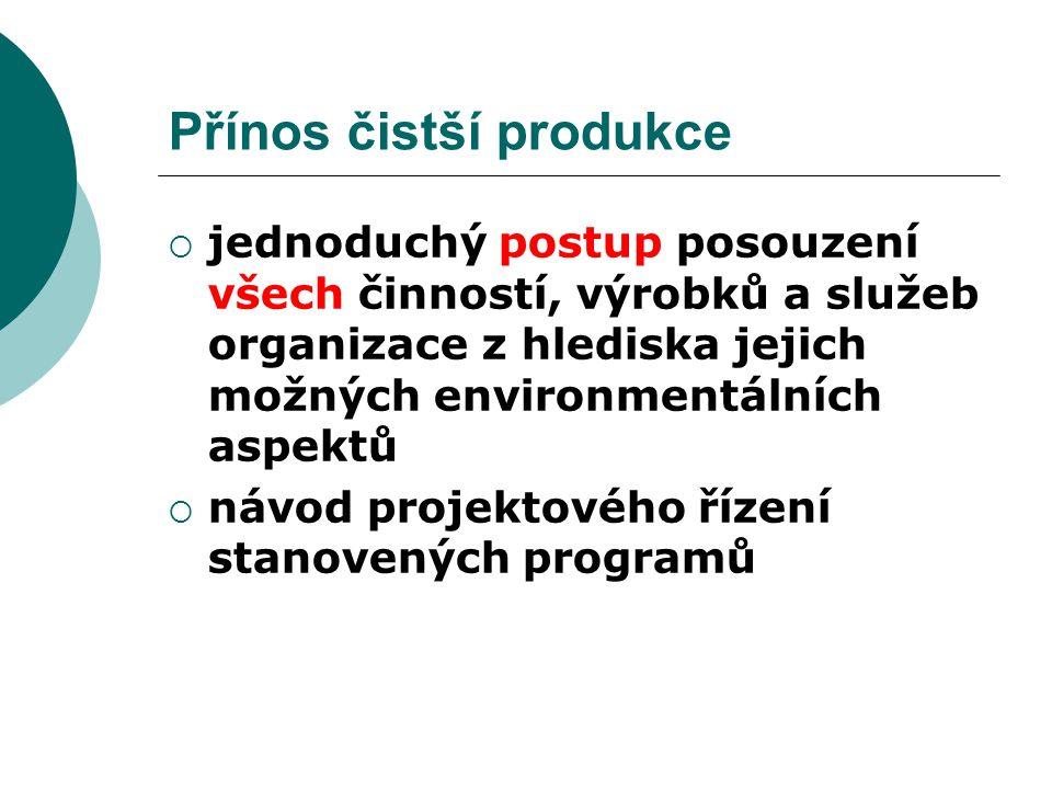 Přínos čistší produkce  jednoduchý postup posouzení všech činností, výrobků a služeb organizace z hlediska jejich možných environmentálních aspektů 