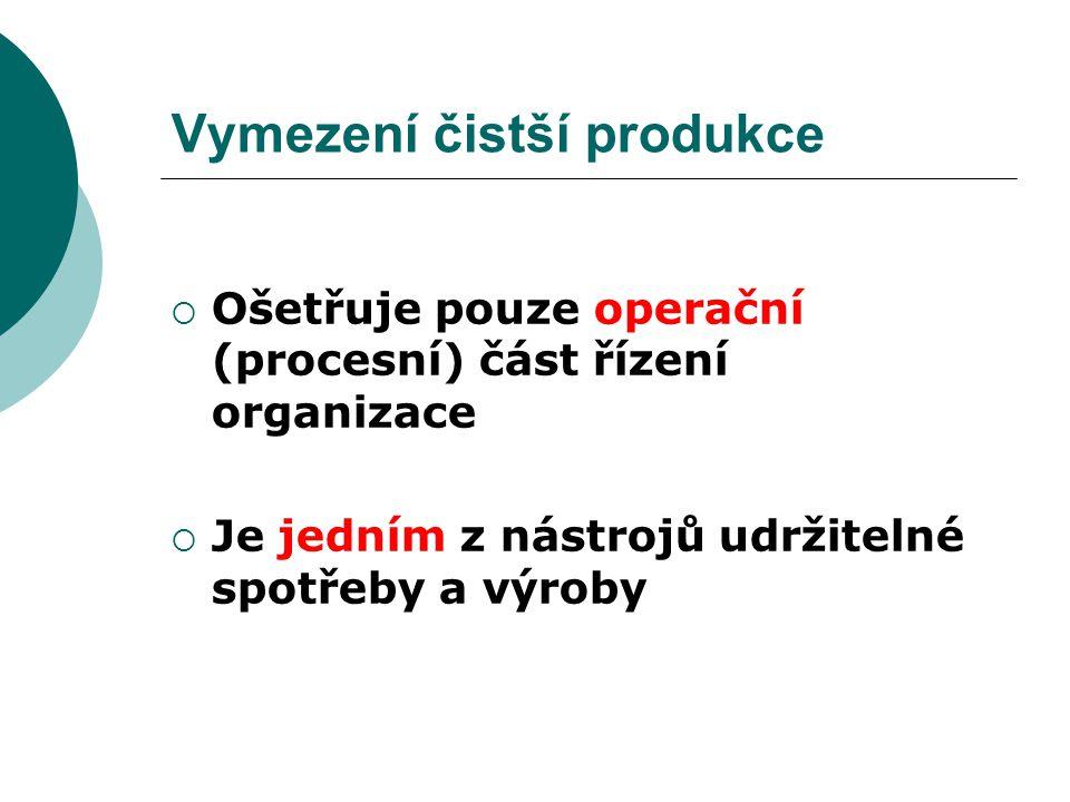 Vymezení čistší produkce  Ošetřuje pouze operační (procesní) část řízení organizace  Je jedním z nástrojů udržitelné spotřeby a výroby