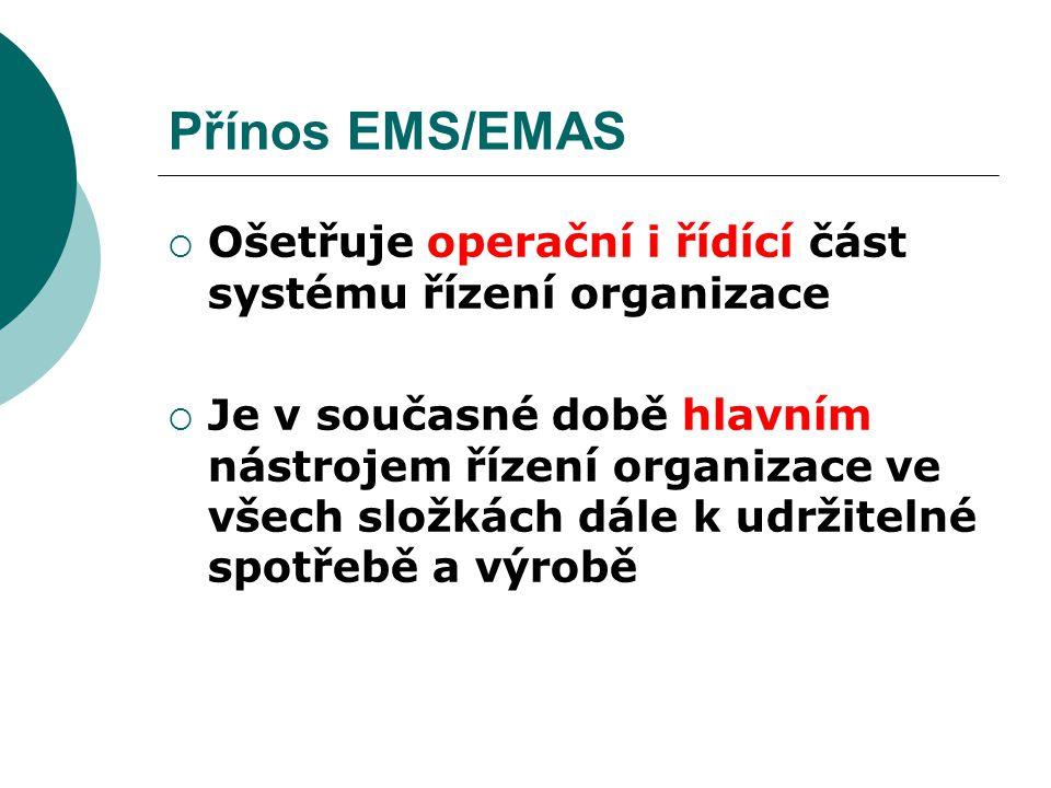 Přínos EMS/EMAS  Ošetřuje operační i řídící část systému řízení organizace  Je v současné době hlavním nástrojem řízení organizace ve všech složkách