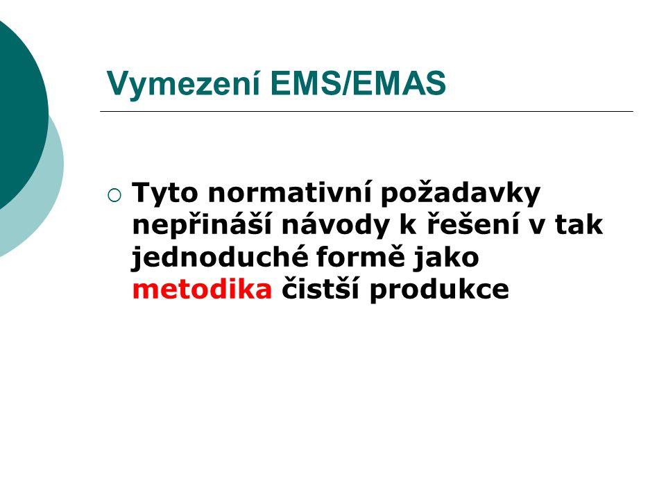 Vymezení EMS/EMAS  Tyto normativní požadavky nepřináší návody k řešení v tak jednoduché formě jako metodika čistší produkce