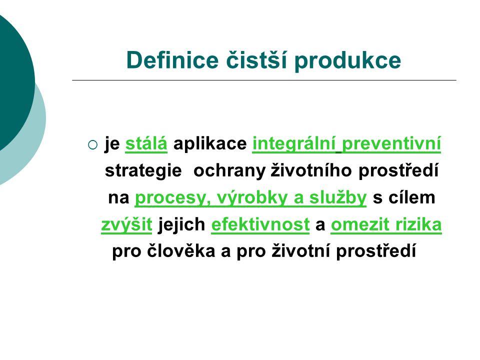 Metodika čistší produkce  Příprava projektu, Environmentální politika  Předběžné hodnocení  Plánování a organizace  Analýza procesů  Generování návrhů  Analýza proveditelnosti  Realizace, vyhodnocení výsledků