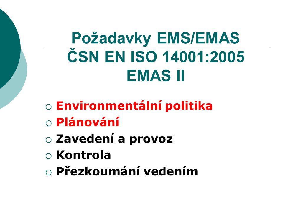 Environmentální politika  Odpovídá povaze, rozsahu a environmentálním dopadům činností, výrobků a služeb organizace  Obsahuje závazek k neustálému zlepšování a prevenci znečištění